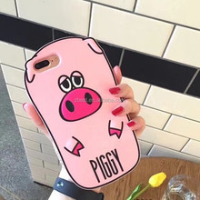 Mobile Phone Accessories, Cute Animal Design Cute Pink Pig Soft Silicone Case For iphone 7 plus