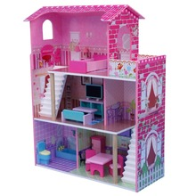 Classic Three Storeys Doll House With 17sets Mini-furniture Inside, Easy-Assembly Wooden Toy For Wholesale