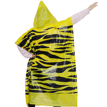 yellow emergency disposable pe rain poncho with logo