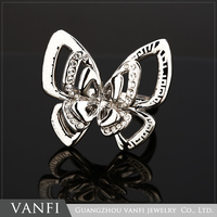 China Factory Direct Sale Fashion Ring Metal Butterfly spring ring