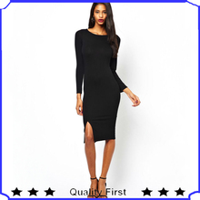 2014 new trendy fashion desinger women Midi Column Dress With Split Hem party evening dress shkl26