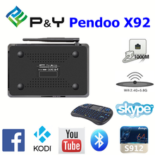 2016 China manufacturer Pendoo X92 S912 2G 16G android tv box digital satellite receiver for sale 4K full HD KODI TV BOX