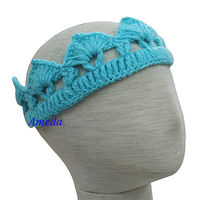 Newborn Baby Knitted Crochet Crown Blue Tiara Photo Prop 0-6M