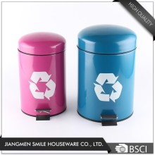 Recycle Logo iron foot pedal dust bin with soft close cover