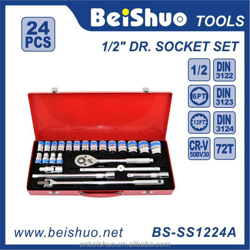 Iron Box Packing 24 PCS 1/2''Dr. Ratchet Wrench Socket Set