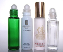 cylinder slim type hot stamping glass roller ball bottle and 12ml glass refillable roll-on bottle