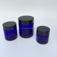 30g 50g 100g cylinder cosmetic cobalt blue glass jar round cream glass jar