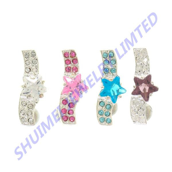 316L Surgical Steel Top Down Star CZ Gems Non Dangle Curves Navels Belly Button Rings Barbell Body Piercing Jewelry