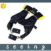 Quick Rapid Camera Double Dual Shoulder Sling Belt Black Neck Strap for Canon Nikon Pentax Panasonic DSLR Camera