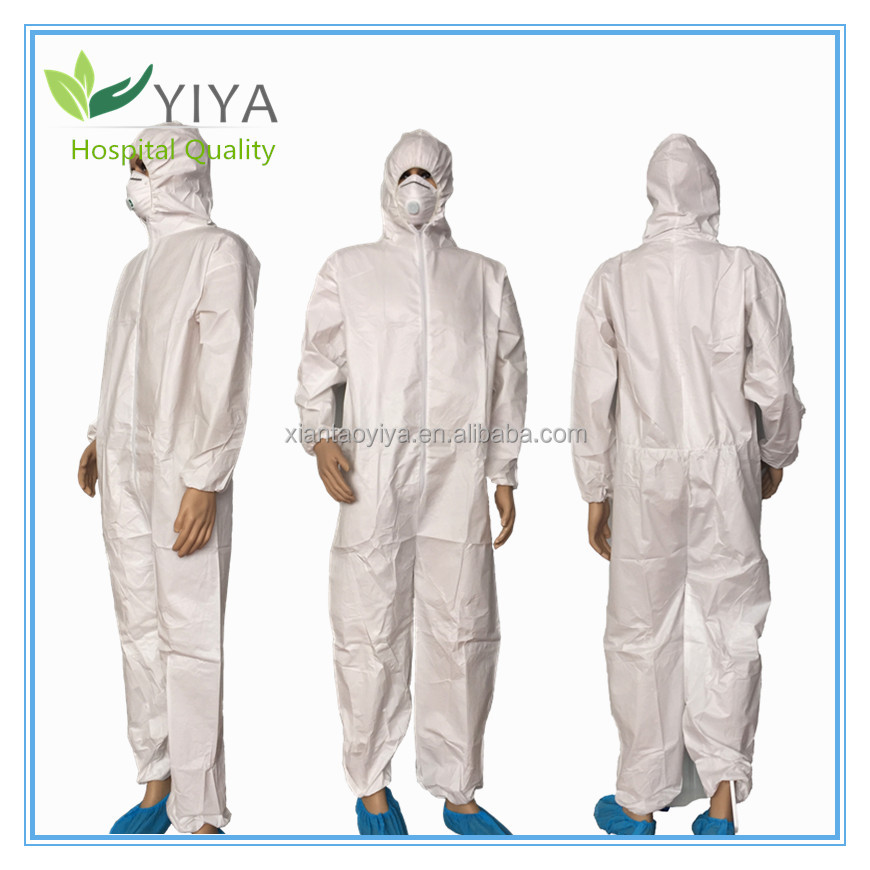 Disposable microporous coverall combined with PE breathable film protective coverall features water proof and fluid resistant