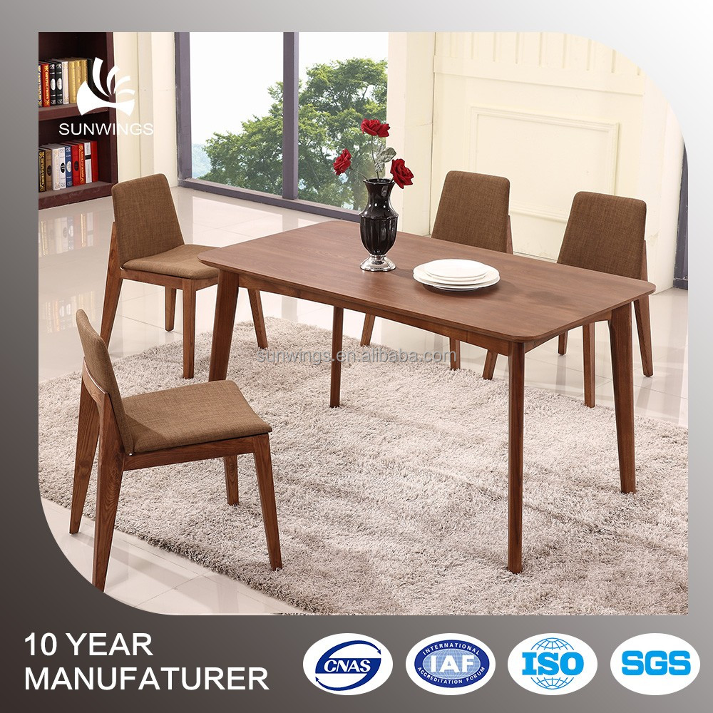 Contemporary new design dining room wooden dining table with 4 solid wood leg