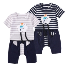 2017 cotton toddler clothing sets stripe baby clothing newborn patch embroidered from china