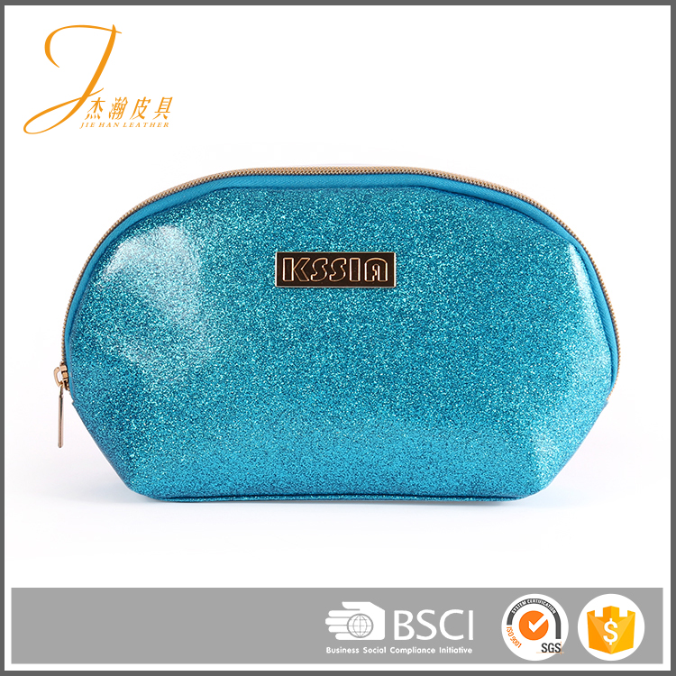 Fancy customized color logo sky blue sequins pvc zipper coin purse fashion cosmetic bag
