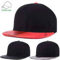 New Fashion Stock Wholesale Winter Unisex Warm Thick Hip Hop Flat Faux Leather Brim Snakeskin Snapback Cap