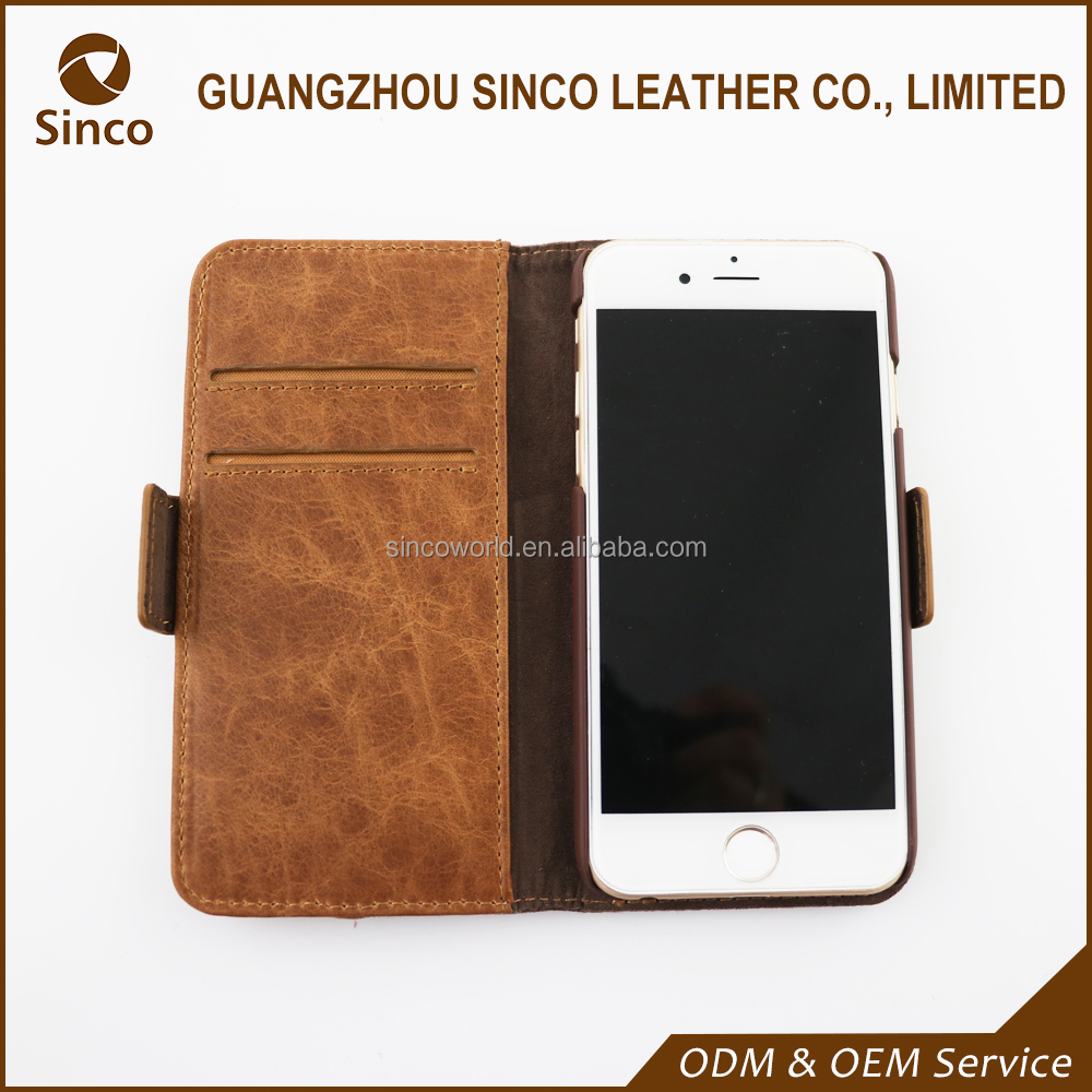 2016 shockproof customzied genuine leather phone case with wallet slot