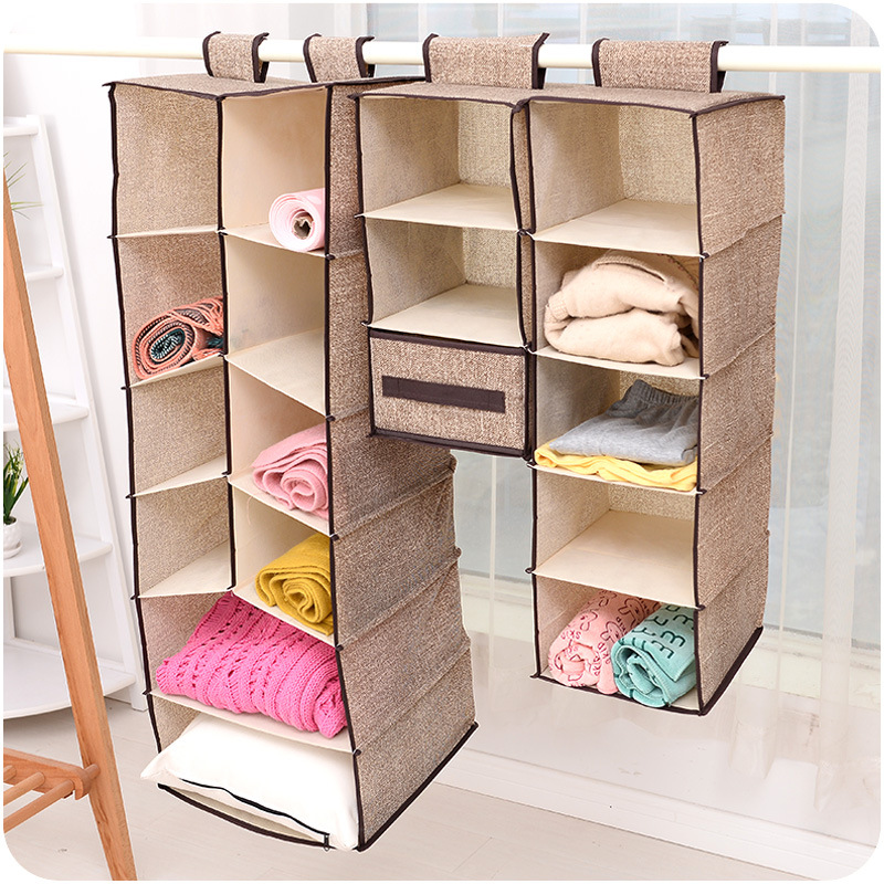 Home creative non - woven wardrobe storage hanging bags multi - layer hanging clothes bag bag wholesale