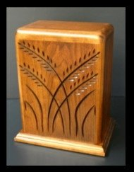 Wheat / cherry wood/saw maguel stain urns