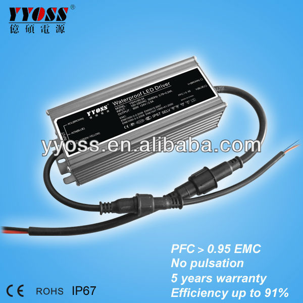 High quality IP67 waterproof 24v 60w led driver TUV PFC EMC