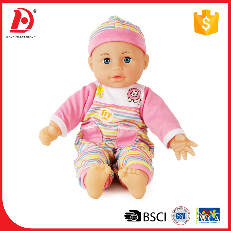 13 Inch cotton nipple suck speaking dolls import with 4 sounds IC