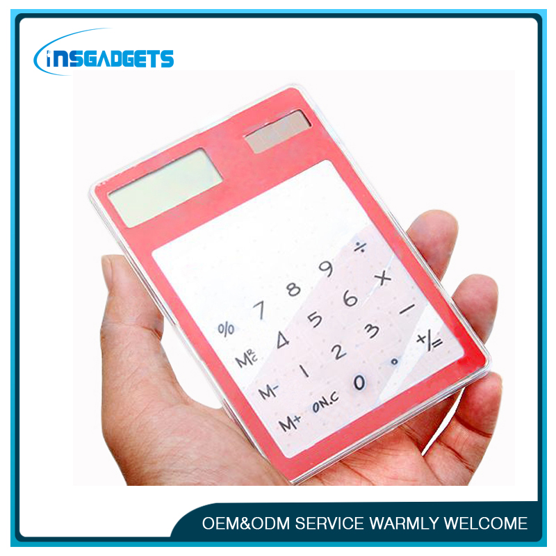 Solar powered touch screen LCD 8 electronic digital calculator solar powered thin pocket calculator