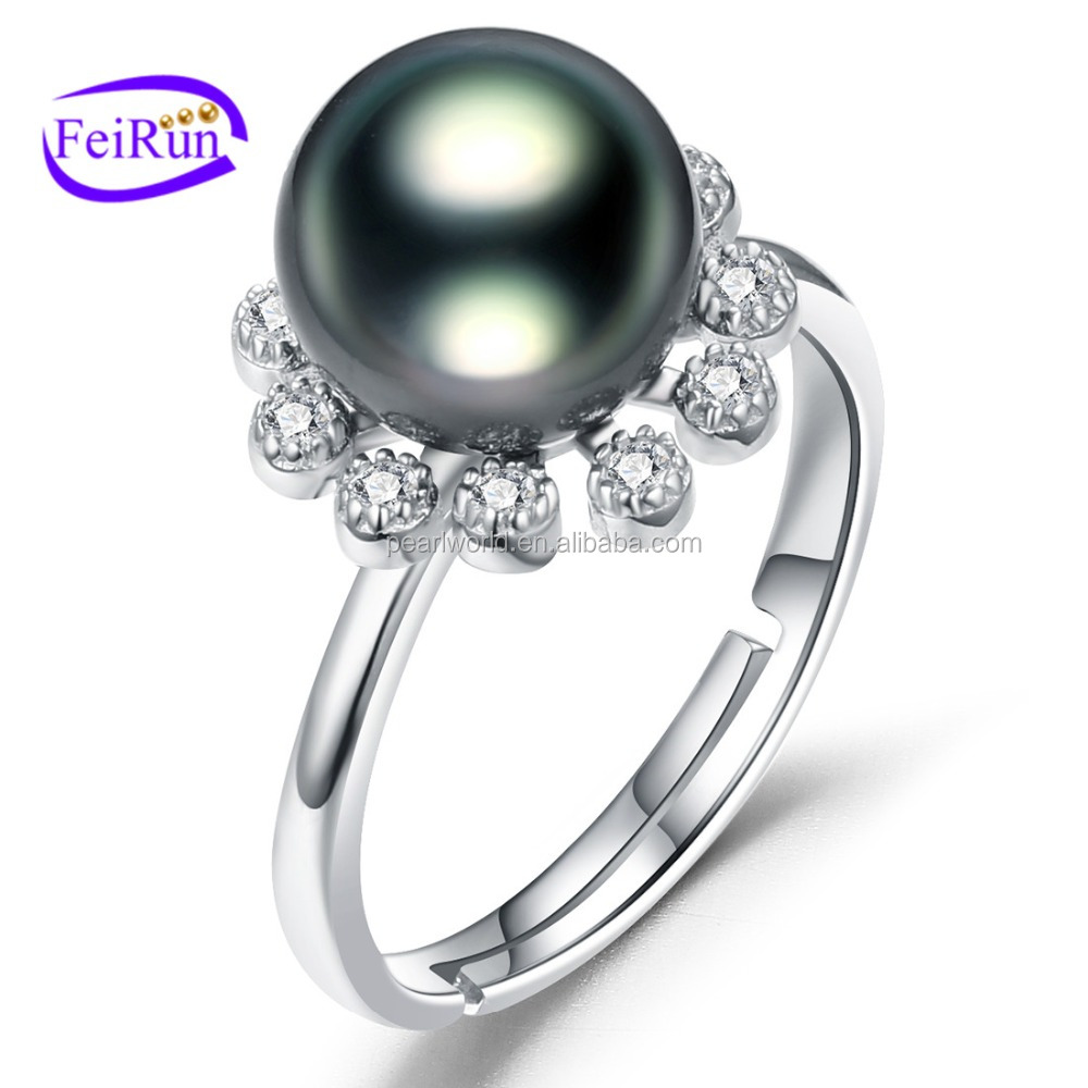 FEIRUN 9-10mm wholesale price hot sale unique pearl ring, sea pearl ring, adjustable pearl ring