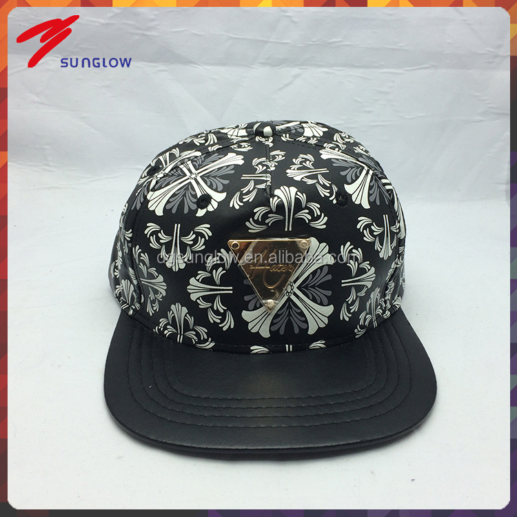 custom design your own snapback cap with metal plate logo