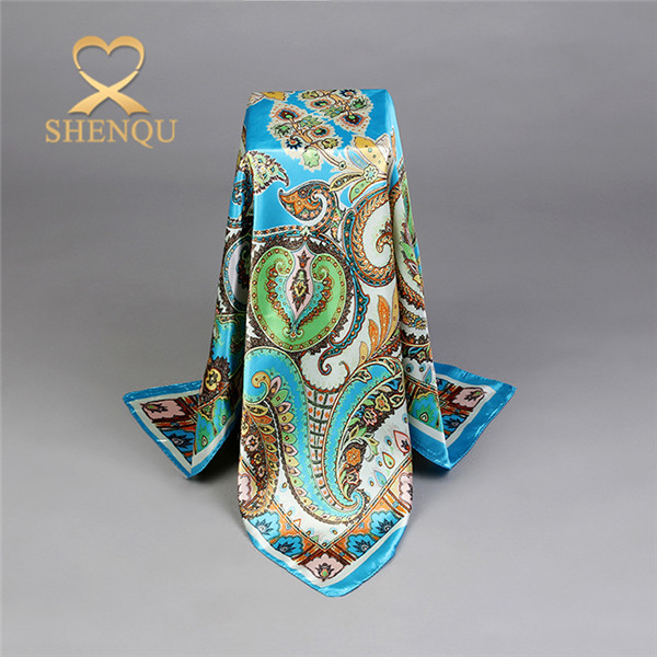 Printing square silk scarf selling well soft office ladies scarf