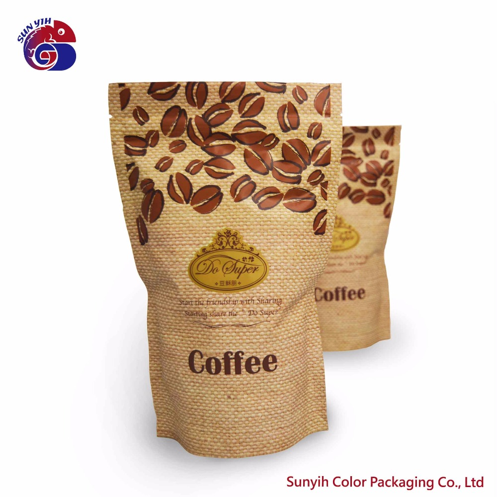 custom colorful printing matte aluminum stand up coffee bag with valve zipper bag