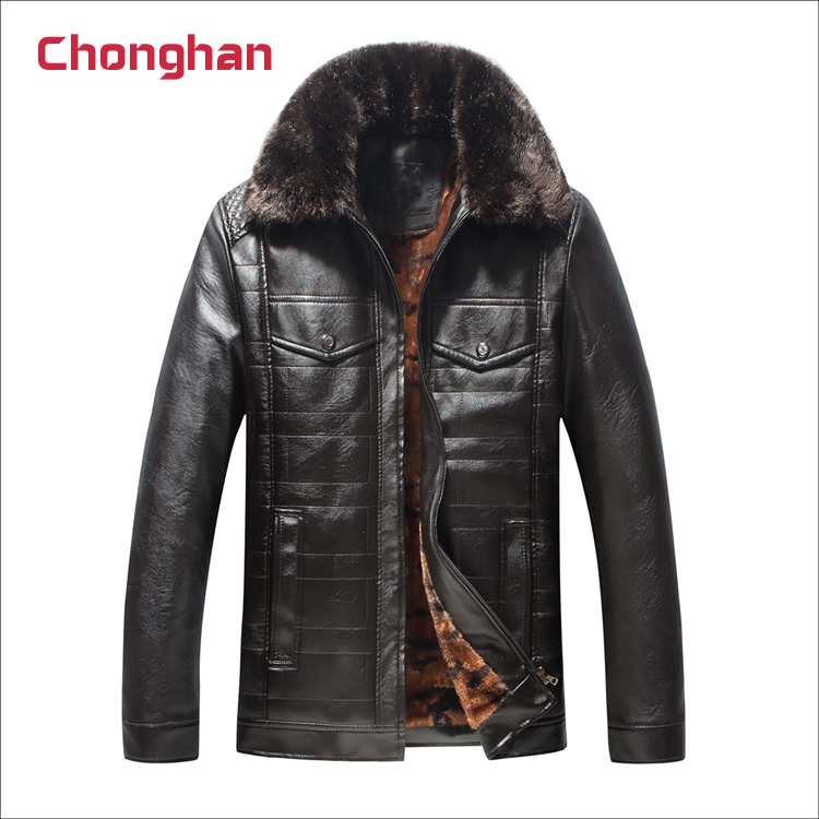 Chonghan Pakistan Black Colour Mens Winter Fur Collar Leather Jackets For Sale