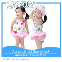 New Arrival Baby Floral Lace Skirt Beachwear Pink Flower Sexy One Piece Swimwear for Girl
