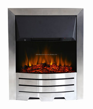 Contemporary Electric Fireplace Log Burning Flame Effect Fire Place Heater Glass View LED Lighting w/ Remote 2KW Max