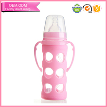 wholesale baby nursing product customized glass baby bottle with sleeve