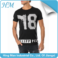 2016 100% cotton mens round neck short sleeves tshirt with rhinestone pattern design t shirt