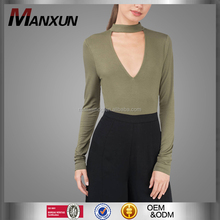 2017 Fashion Choker bodysuit Deep V Neck Sexy Bodysuit Long Sleeve Bodysuits For Women