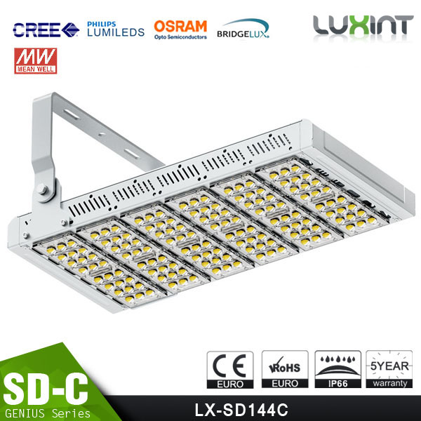 Different Beam Angle Modular Design 40W Industrial LED Flood Lights Adjustable Bracket CE Rohs Meanwell Driver 100-140lm/W