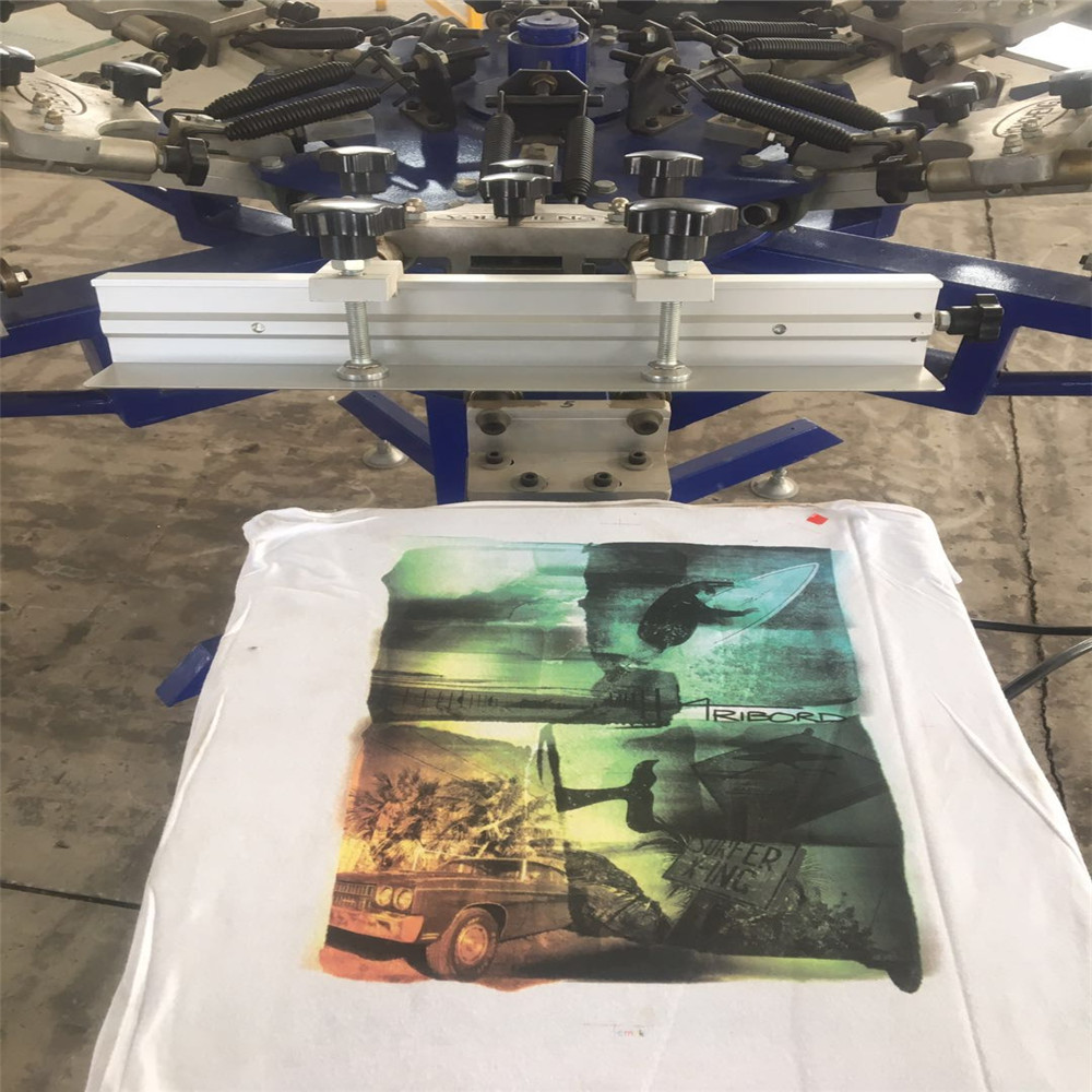 Manual Rotary Screen Printing Machine 8 Colors for T shirts