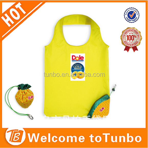 Reusable Foldable Yellow pineapple fruit shaped 190T Shopping Tote Bag