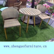 Slim flat rattan coffee shop table and chair outdoor furniture