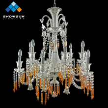 6 lights modern silver crystal silver chain for chandelier