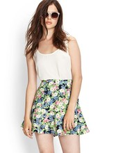 sexy girl skater skirt floral print short mini skirts pictures woman min skirt