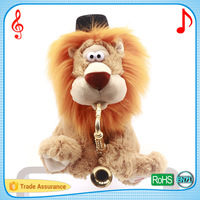 New popular color window box package kids gift package electronic singing and dancing lion animated cartoon musical plush toy