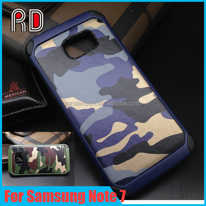 Alibaba Express 3 in 1 Classical Pattern Army Camouflage Style Shockproof phone Case for Samsung Note 7