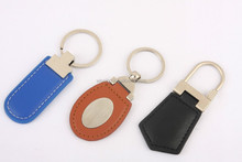 promotional pu leather keychain oval metal keyholder with leather tag