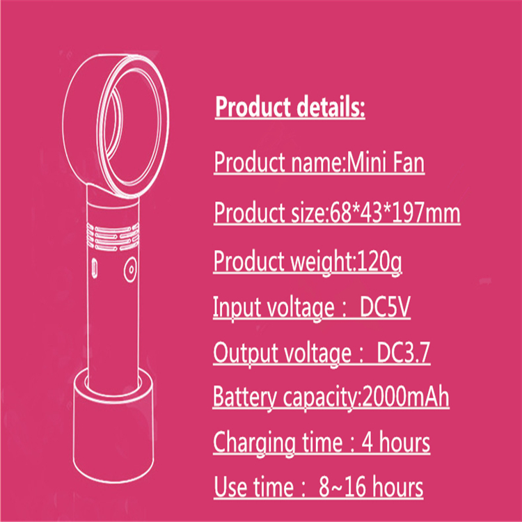 Mini Fan Ventilator Handheld Bladeless Fan Air Cooler USB Rechargeable Portable Cooler Fan For Outdoor