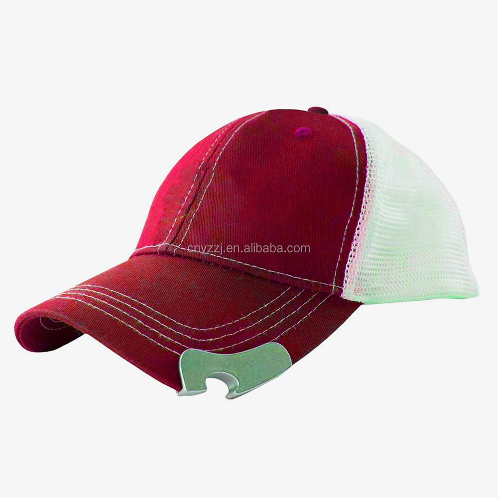 Embroidered Bottle Opener Baseball Cap with Mesh