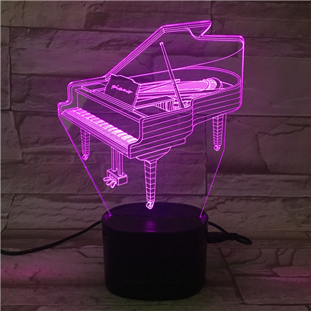 Gorgeous LED Flashing Night Light 3D Piano Acrylic Visual Lamp with speaker base