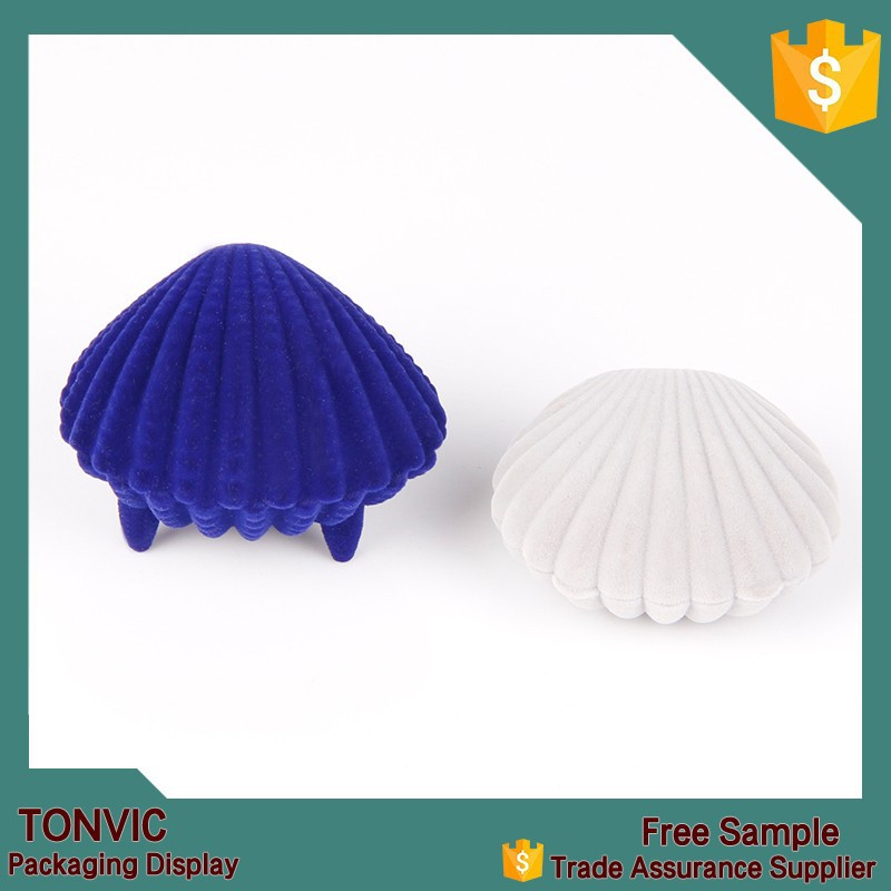 Shell shaped design velvet small ring earring jewelry box wholesale factory