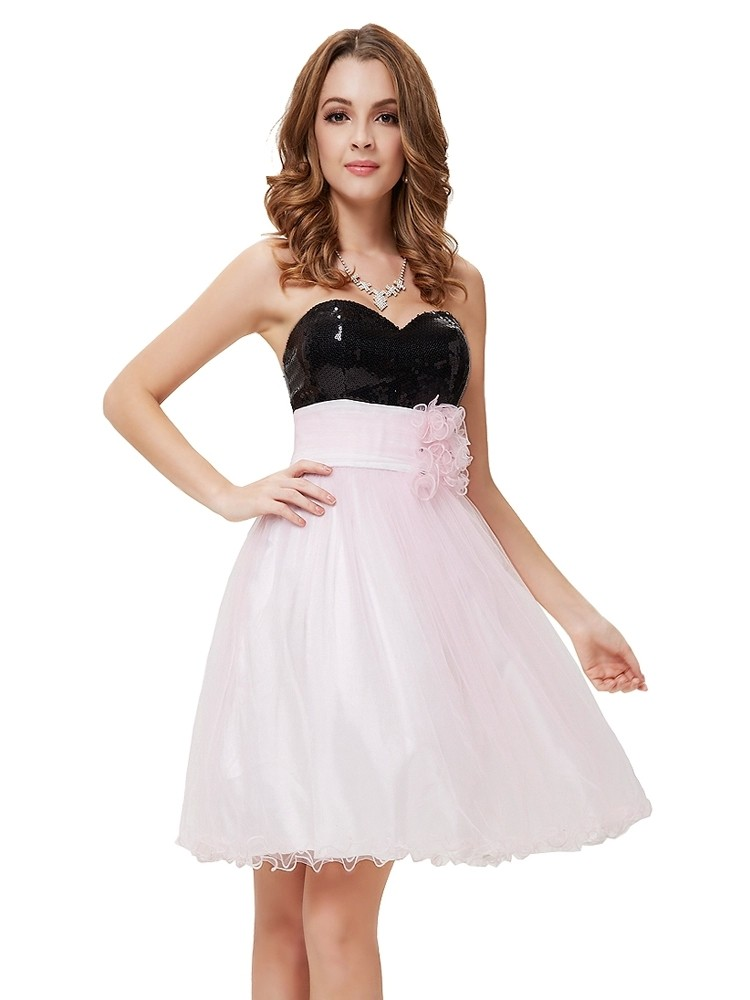 Get Quotations · Sweetheart Top Black Sequin Light Pink Tulle Short Short  Puffy Prom Dress 2015 Vestidos De Festa 3ccfa75f38c4