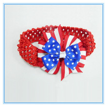 New arrival ribbon hair bow hair band elastic crochet headbands for baby girls