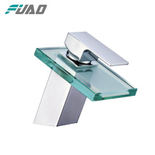 FUAO single Handle led glass waterfall faucet